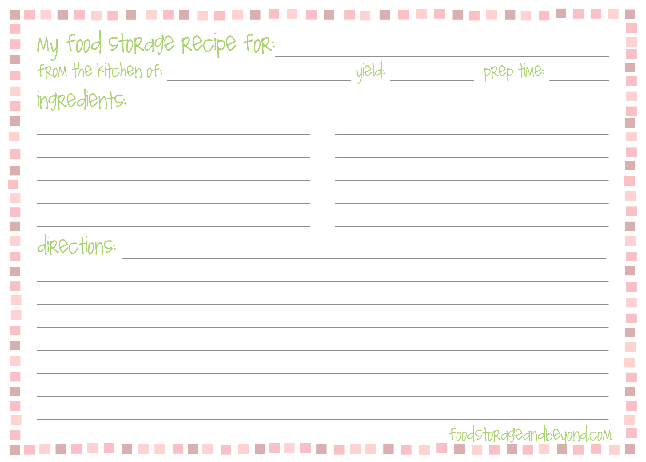 Recipe cards food storage and beyond for 5x7 recipe card template for word
