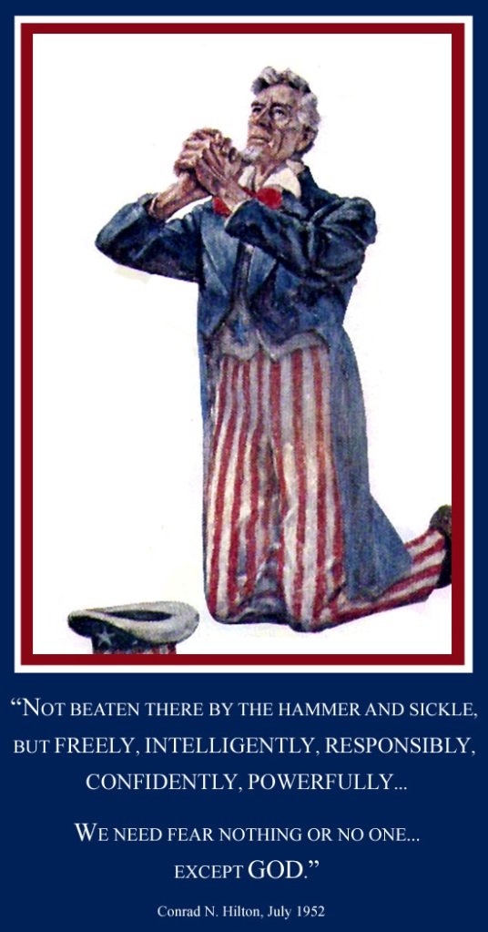 Uncle Sam kneeling in prayer