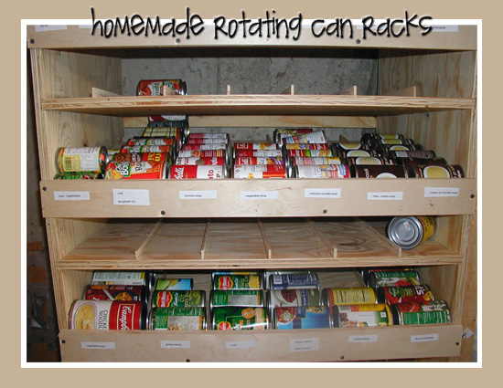 Rotating can racks food storage and beyond for Can good storage ideas